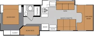 Class C Motorhome 2 Slides W Bunks Floor Plan