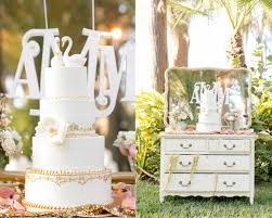 White And Gold Wedding Cake Vintage Table Outdoor Amalie Orrange Photography