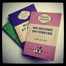 Penguin Book Style Wedding Invitations