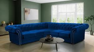 blaue chesterfield wohnzimmer textil stoff sofa couchen polster ecksofa