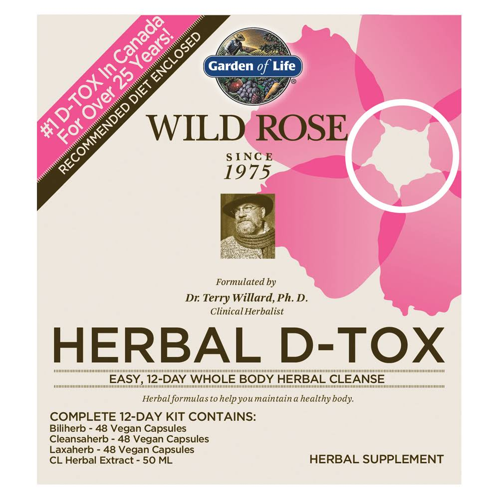 Garden of Life 12 Day Wild Rose Herbal D-Tox Kit - 48 Capsules