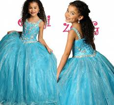 2015 ball gown little girls pageant dresses sequined beaded straps