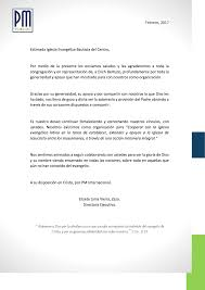 Carta De Agradecimiento De PMInternacional Iglesia Evangélica