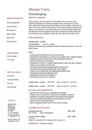 Housekeeping Resume Cleaning Sample Templates Job Description