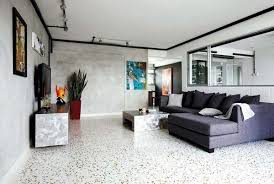 Beautiful Terrazzo Flooring Modern Living Room Design Ideas Sectional Sofa Coffee Table