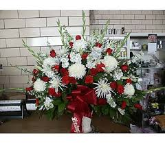 Sympathy Basket Red And White In Chicago IL Soukal Floral Co Greenhouses