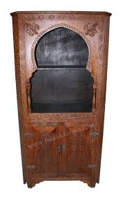 Tall Hand Carved Wooden Display Cabinet