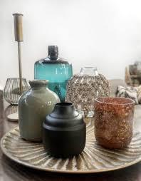 deko flasche vase kona keramik petrol blau ø10x13 5 cm