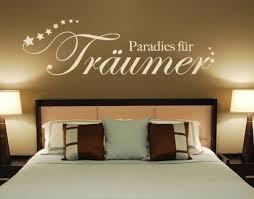 schlafzimmer wandspruch paradies für träumer als wandtattoo