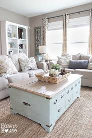 Rustic Living Room With Wooden Coffee Table And Greige Beige Walls