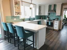 green glass subway tile kitchen backsplash remodel