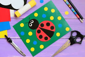 Ladybug Card Scissors Glue Stick Pencil Marker Paper Set Compass On A Wooden Table And Crafts Activities For Kids At Home In Kindergarten