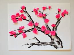Completed Tissue Paper Cherry Blossom Tree Craft