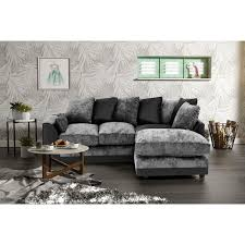 Dylan Chenille Fabric Corner Sofa In Black And Grey Home Done