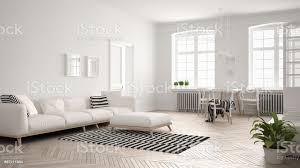 minimalistische helles wohnzimmer mit sofa und esstisch skandinavische weiße innenarchitektur stockfoto und mehr bilder abstrakt