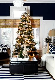 Christmas Decorating Ideas Neutral Burlap White Navy Rustic