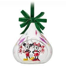 DISNEY STORE Minnie Mickey 2018 Glass Drop Christmas Sketchbook
