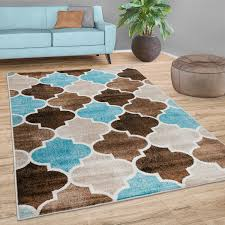 teppich wohnzimmer marokkanisches muster kurzflor modern in beige blau braun