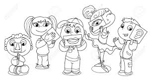 Cartoon Kids Illustrating The Five Senses Royalty Free Cliparts