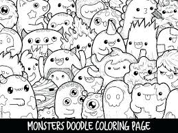 Kawaii Coloring Pages Monsters Doodle Page Printable Cute Home Improvement