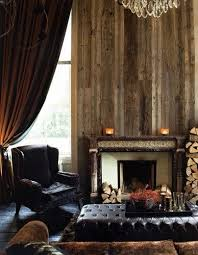 Great Rustic Feel From The Reclaimed Wood Walls Fireplace And Brass Nailhead Trim On Chocolate Velvet Sofa So Handsome