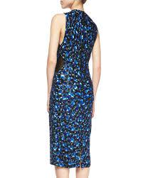 alice olivia ivana beaded midi sheath dress in blue lyst