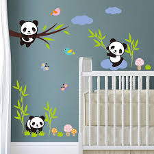 mignon panda arbre bambou oiseaux blanc nuages stickers muraux pour