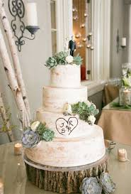 A Four Tiered Rustic Wedding Cake Adorned With Green Succulents And Tree Inspired