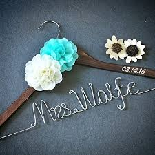 Custom Wedding Hanger Rustic Dress Personalized Bridal Shower Gift With