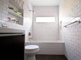 modern white subway tile bathroom wooden towel stool circle