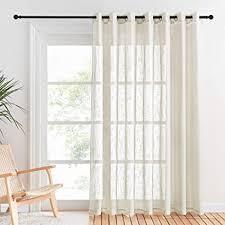 pony vorhang beige halbtransparent leinentextur vorhänge für großes fenster schiebetür voile gardinen wohnzimmer ösenschal 1 stück h 210 x b