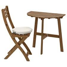 Wall Table & Folding Chair, Outdoor ASKHOLMEN Gray-brown Stained,  Frösön/Duvholmen Beige
