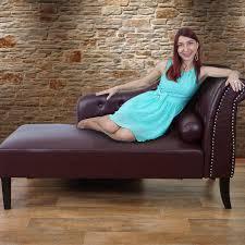 luxus recamiere chesterfield relaxliege loungesofa chaiselongue kunstleder rot braun