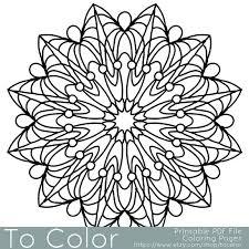Simple Printable Coloring Pages For Adults Gel Pens Mandala Pattern PDF JPG