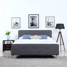 Amazon Mid Century Modern Linen Fabric Low Profile Bed Frame