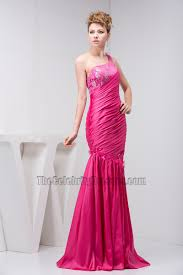 fuchsia one shoulder trumpet mermaid evening gown prom dress