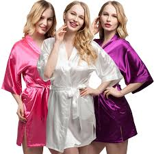 Online Shop Plus Size Short Satin Bride Bridesmaids Robe Sexy Women Wedding Party Kimono Robes Woman Sleepwear Bathrobe Night Dress Pajamas