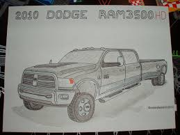 Dodge Ram 3500 Truck Drawing, How To Draw A Truck | Trucks ...