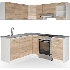 vicco küche küchenzeile l form küchenblock einbauküche komplettküche 167x187cm sonoma