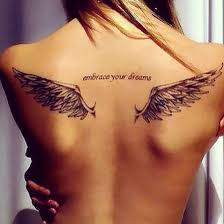 Inspiring Angel Wings Tattoo On Girl Back