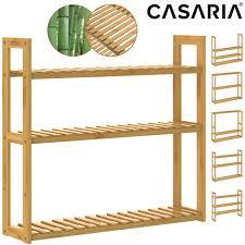 details zu badregal wandregal küchenregal standregal holz regal 3 böden bad keller bambus