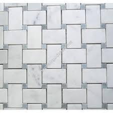 white carrara marble basketweave mosaic tile with light blue dots