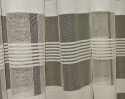 Curtain Fabric By The Yard by Q103 Beige With Stripe Pattern Soft Mesh Net Fabric Curtain