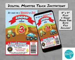 100 Truck Birthday Invitations Printable Monster Monster Party