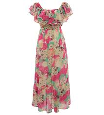 floral printed flounced chiffon beach maxi dress chiffon dresses