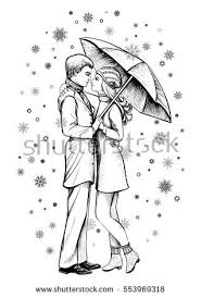 Couple Love Under Umbrella Black White Stock Vector Royalty Free