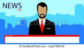 Tv Broadcast News Vector Illustration Anchorman On