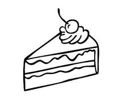 Slice of Cake Illustration Black Line Vector Drawing Cherry Cream Pie