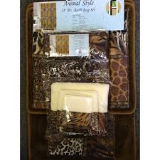 18 pc bath rug set animal safari leopard zebra print shower