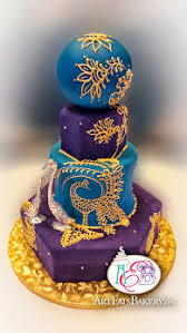 Blue And Purple Fondant Indian Mendhi Style 4 Tier Hexagon Round Custom Unique Wedding Cake With Silver Pearls Birds Not Edible Gold Royal